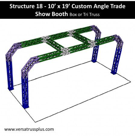 10 x 19 custom angle trade show booth kits. Our 10 x 19 custom angle exhibit kit comes with all of the truss components and hardware to erect a complete 10 x 19 custom angle display booth. Our lightweight aluminum truss 10 x 19 custom angle booth kit is economical to purchase, designed for longevity and is completely modular in design allowing you to increase the size of your 10 x 19 custom angle exhibit kit at any time.