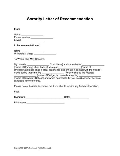Free Sorority Recommendation Letter Template - with Samples - PDF