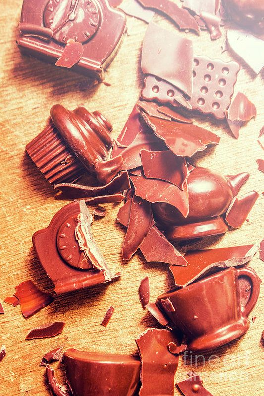 Domestic disturbance concept in a broken chocolate disaster of smashed tableware in shapes and forms of kitchen symbols by Jorgo Photography - Wall Art Gallery