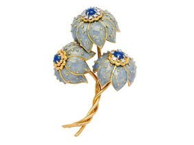 A Diamond, Sapphire and Enamel Floral Brooch, Tiffany & Co.