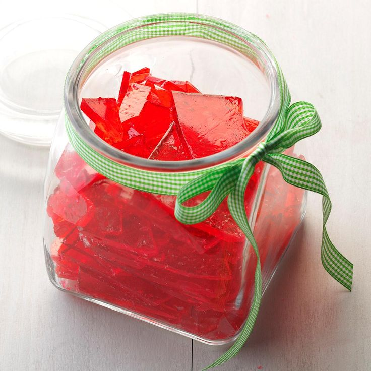 Christmas Hard Candy Recipe -When you make a batch of this beautiful jewel-toned candy, your whole house fills with wonderful scents of mint or cinnamon. My mom always makes this candy, and people request it every year. She puts it in clear jars with a holiday calico fabric on the lid. Now I've started making it, too. -Jane Holman, Moultrie, Georgia