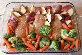 Chicken breast, red potatoes, veggies of choice. Drizzle with olive oil or melted butter, spinkle top with italian seasoning, cover with foil, bake at 350° for 1 hour