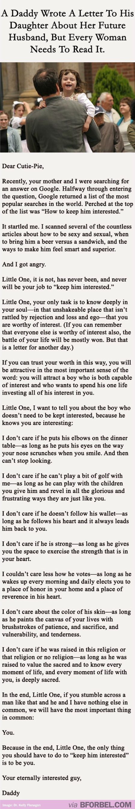 """It really annoys me that he refers to her as """"little one"""" so many times, once would've gotten the point across. Otherwise, it's good words for all the insecure little girls out there (and the bigger insecure girls too)::"""