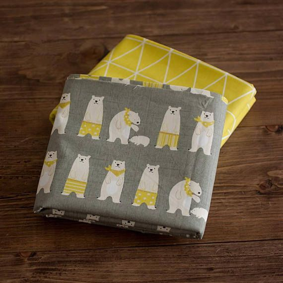 Hey, I found this really awesome Etsy listing at https://www.etsy.com/listing/542244737/grey-with-bears-cotton-fabric-yellow