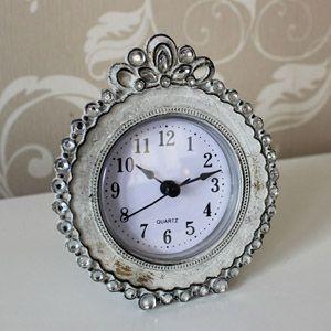 Cream Metal Diamante Table Clock