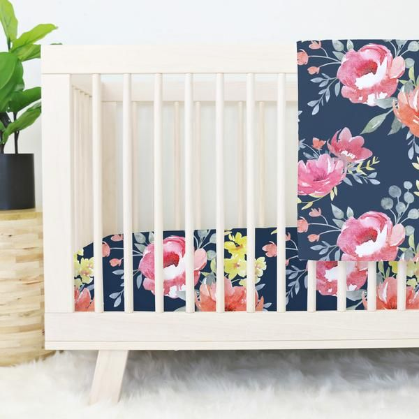 Navy Midnight Floral Bouquet Crib Bedding I Am Loving the Navy Floral!!