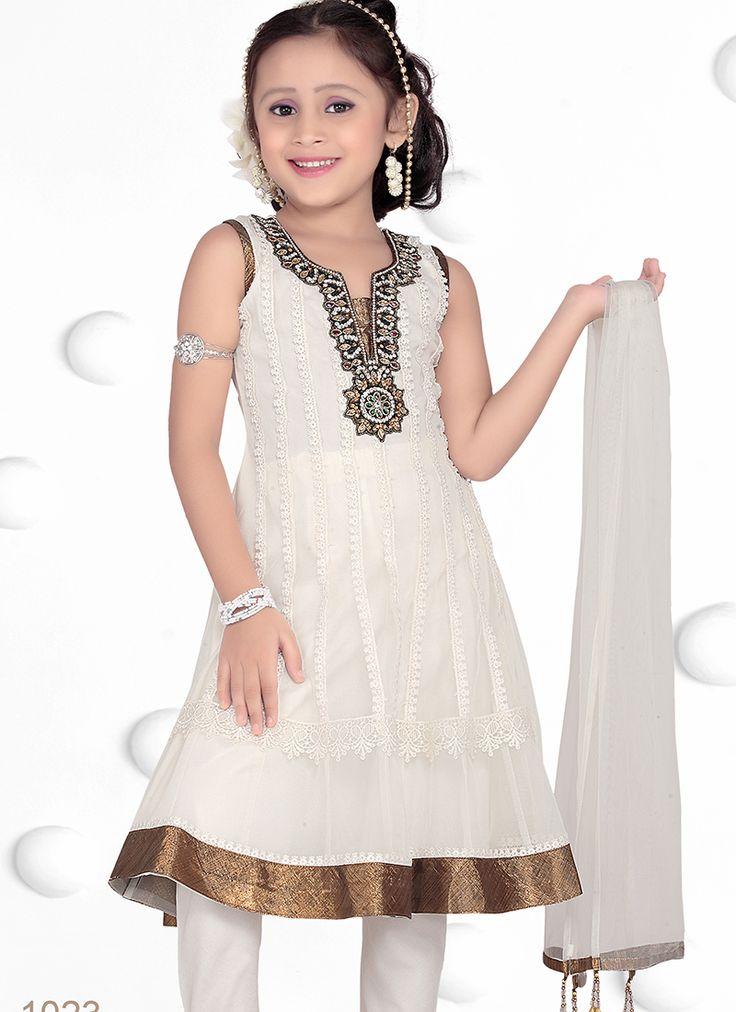 Riveting Georgette White Designer Kids Wear Salwar Suit