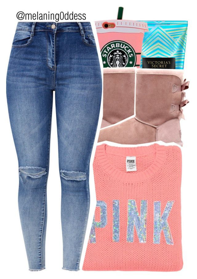 """Untitled #1301"" by melaning0ddess ❤ liked on Polyvore featuring Victoria's Secret, UGG and Victoria's Secret PINK"