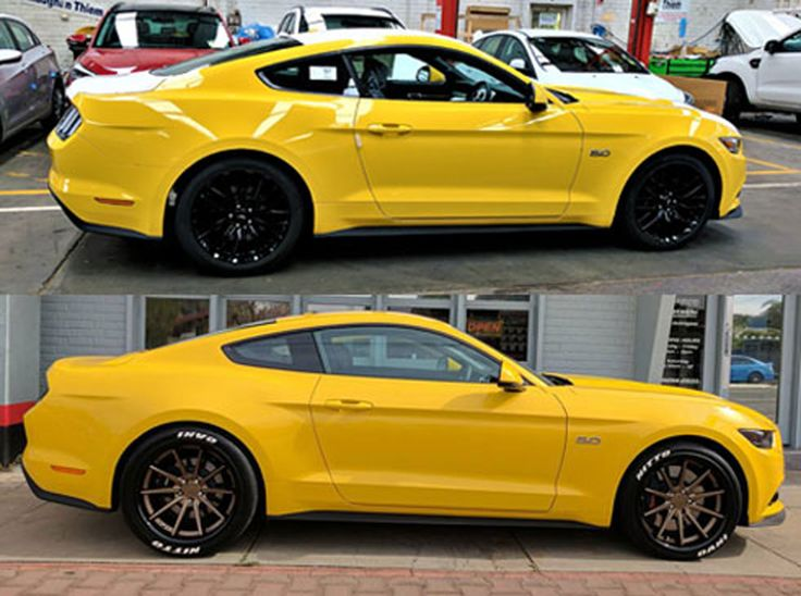 Eastside Mustang Enhancement before & After Tyre and Rim package.