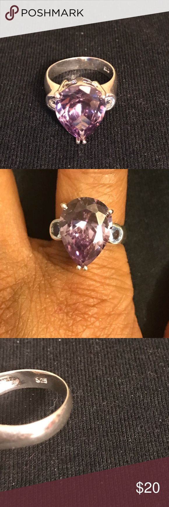 Bling cocktail ring! Stunning! Set in sterling! ⚡️PRICE FIRM!⚡️Beautiful bling lab created amethyst and blue topaz! Clear bright stones. I cannot get the amethyst to show up right but it's more exciting than the picture shows. The blue topaz is indeed light blue. I bought this from another Posher but she accidentally sent the wrong size. She said she sent 7.5. Judging by my own fingers, that's about right. Returns are a hassle so I'm just going to try to recoup some of what I paid. 🚫No…