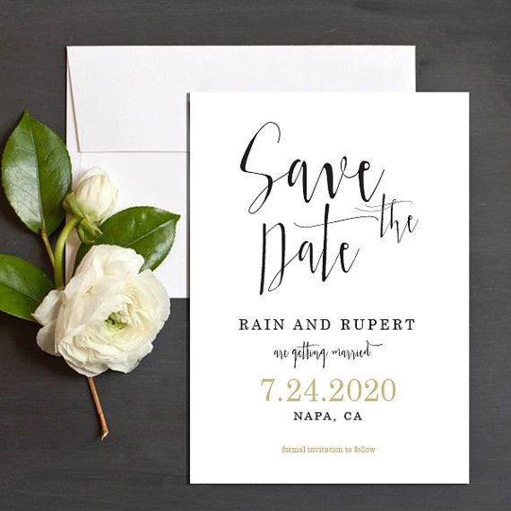 Printable Save the Date PDF Personalised Simple by TheprintableCo
