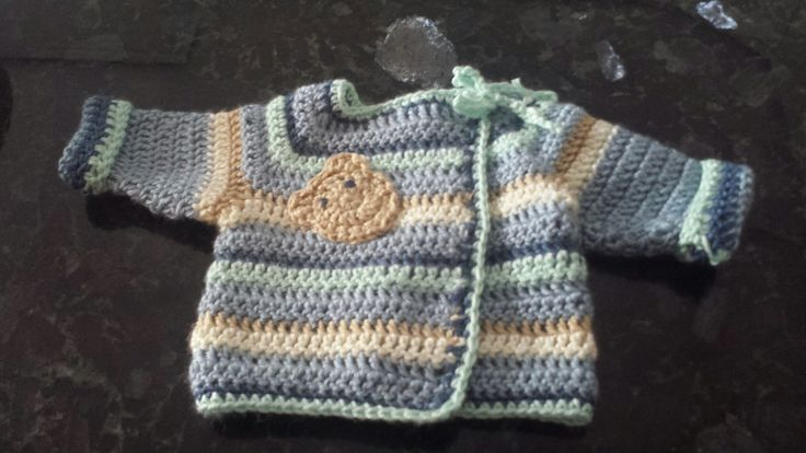Cute crochet bear cardigan for my grandson
