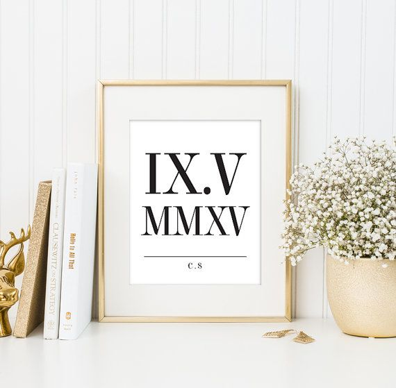A modern Roman Numeral art print celebrating your anniversary or special date in your life. Great gift for weddings, anniversary or a special keepsake for the family! * NOTE: FRAME NOT INCLUDED //////////////////////////////////// D E T A I LS ////////////...