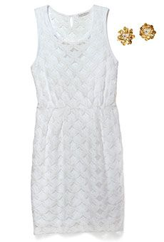 Chloe knit lace dress by Banana Republic; flower stud earrings by Tai good for a shower