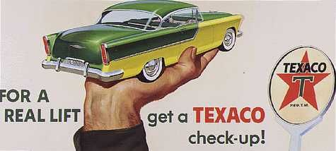 Roadside billboard mock-up produced by the Cunningham and Walsh advertising company for Texaco, mid-1950s    Cunningham and Walsh, now a subsidiary of N. W. Ayer, was one of the first American advertising agencies. The Smithsonian began collecting material from N. W. Ayer and related firms in 1975 and continues to receive donations, such as this mock-up, acquired in 1996.