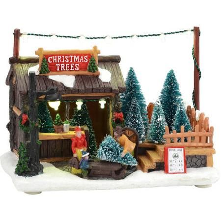 """Holiday Time 5.5"""" LED Lighted Trees for Sale Christmas Village - Walmart.com"""