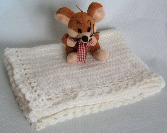 Baby Blanket Crochet Knitting Off White Soft Baby by Initasworks