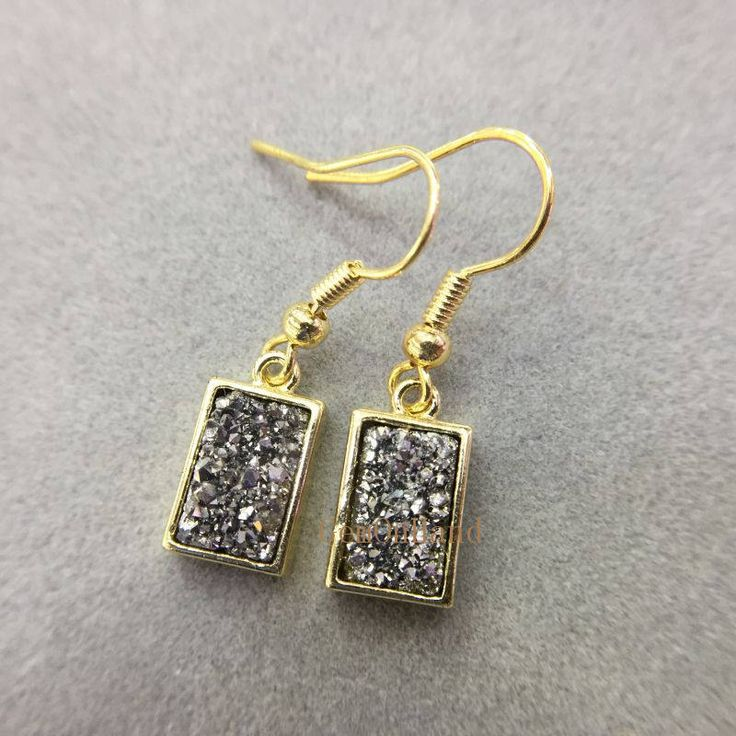 Wholesale Crystal Quartz Druzy Earring,Silver Titanium Druzy Dangle Earring,Rectangle Gold Plated Boho Druzy Earring,Wedding Jewelry ER5132 by GemOnHand on Etsy