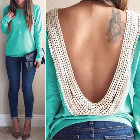 Stylish Scoop Neck Lacework Spliced Backless Long Sleeve T-Shirt For Women