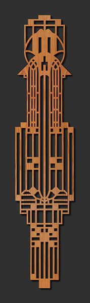 Chauncey Williams Medallion by Lightwave Laser; Inspired by the architectural designs of Frank Lloyd Wright, this piece is an adaptation of one of two matching details in a window designed by Wright prior to 1900.