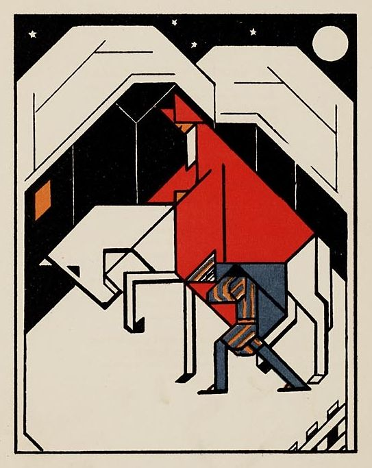 De nacht van Sinterklaas. Sinterklaas in Art Deco Style.This drawing comes from the picture book Gouden Vlinders/versjes (Golden butterflies / poemes) by S. Franke and images by Lou Loeber. It was published in 1927.
