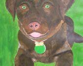 Pour le défi de décembre 2013: Labrador chocolat avec un médaillon en macaron à la pistache : Peintures par acryl-art