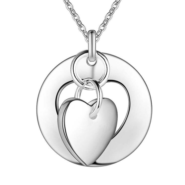 Оптовая посеребренные шарм jewelrys Ожерелье, бесплатная доставка 925 штампованные ювелирные изделия кулон головоломки сердце AN276купить в магазине super jewelry storeнаAliExpress
