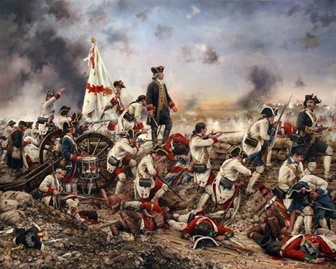 Viva Galvez! This is a beautiful and dramatic painting by Spanish artist Augusto Ferrer-Dalmau showing Bernardo de Gálvez and his troops fending off a British counter attack in one of the battles during the siege of Pensacola in 1781. The Navarra Regiment (red & white) had the most number of troops. Also shown are troops of the Louisiana Regiment (blue & white) and the 2nd Company of Catalonian Volunteers (blue & blue)