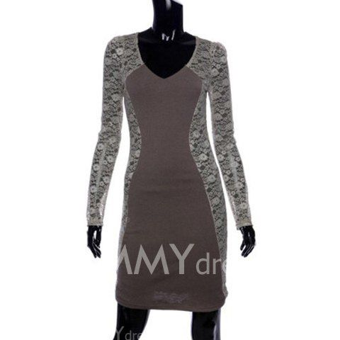 $6.25 Stylish V-Neck Bodycon Floral Pattern Lace Splicing Long Sleeves Club Dress For Women