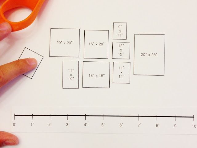free printable gallery wall template for planning layout with multiple frame sizes to scale and a 10 foot horizontal and vertical reference line  danielle oakey interiors: Free Gallery Wall Template!