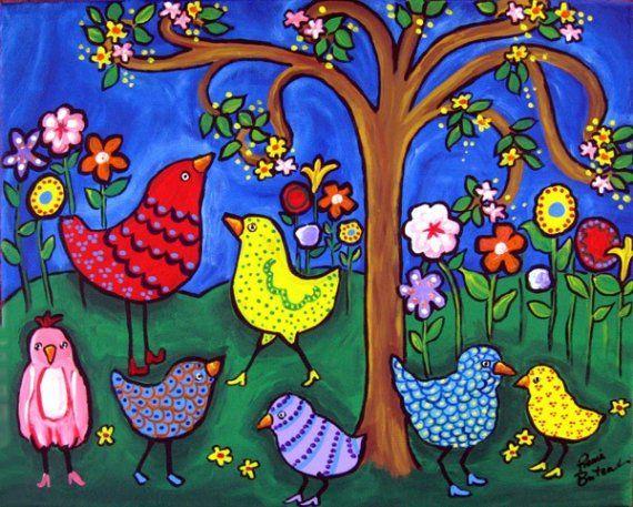 Coloridos pájaros y flores divertidos Whimsical colorido Folk Art Giclee PRINT