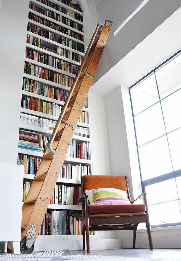 Die besten 25+ Bücherregal hoch leiter Ideen auf Pinterest - ideen bibliothek zu hause gestalten