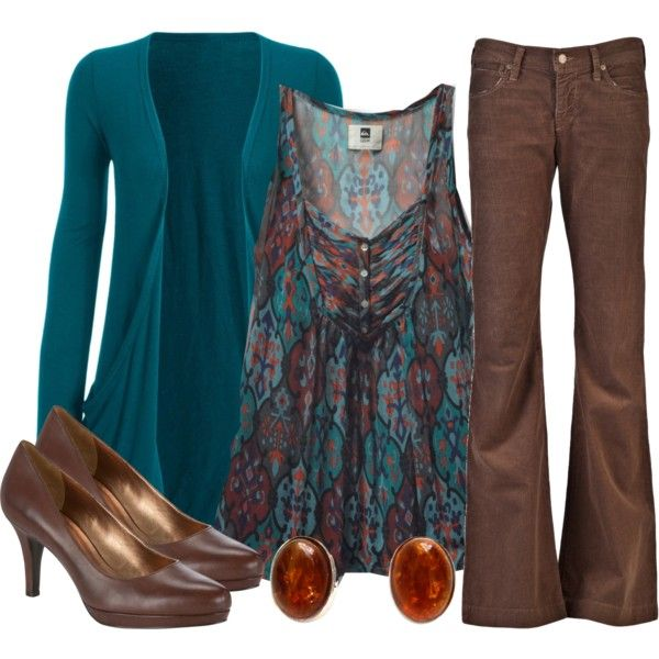 Another nice color combo. I'd ditch the brown jeans and replace with Brown dress slacks for the office.