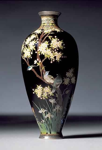 Namikawa Yasuyuki (Japan, 1845 - 1927)   Vase, 19th century  Enamel, Cloisonne with silver wire, silver mounts on copper body, 6 1/4 x 2 7/8 x 2 7/8 in. (15.9 x 7.3 x 7.3 cm)