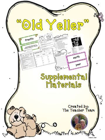 """Old Yeller ~ Supplemental Materials : Journeys aligned! This package contains a variety of activities from the story """"Old Yeller"""" to teach, re-teach, practice or assess the various lessons taught. Vocabulary and writing are emphasized and an Essential Question is included! $"""
