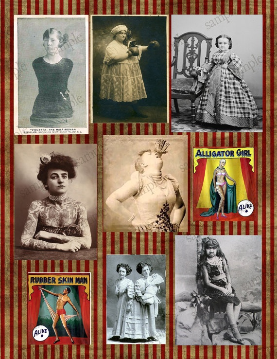 Circus Sideshow Freaks Digital Collage by CuriousCrowCreative, $3.25