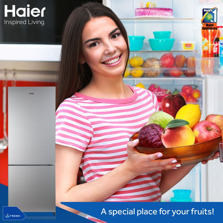 #Haier's Glass Door #Refrigerator offers a dedicated space for your #fruits. The separate fruit box lets you store all your favorite fruits with ease and helps them stay fresh.