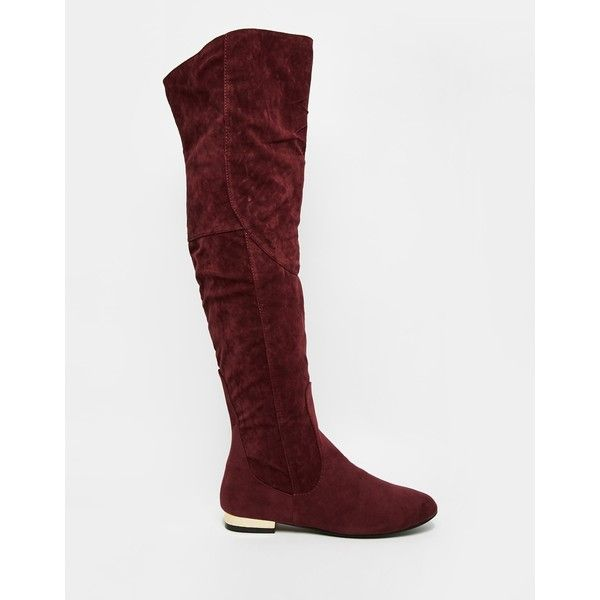 Daisy Street Oxblood Flat Over The Knee Boots ($62) ❤ liked on Polyvore featuring shoes, boots, low heel boots, oxblood boots, thigh high boots, overknee boots and over the knee thigh high flat boots
