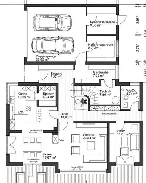 41 besten haus bauen grundriss mit garage bilder auf pinterest haus grundrisse stadtvilla und. Black Bedroom Furniture Sets. Home Design Ideas