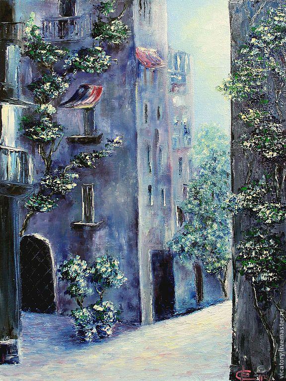 """Картина масло """"Рассвет в старом городе"""" - синий,голубой,темно-синий,фиолетовый"""