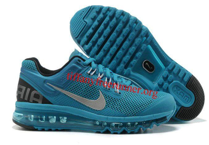 Mens Nike Air Max 2013 Blue Glow Black Silver Shoes