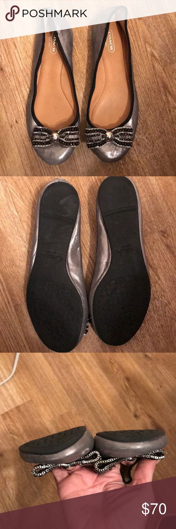 Coach Delores Dusted Flats Coach Delores Dusted Metallic Pewter Silver Ballet Flats with Bow leather  Good condition 8 Coach Shoes Flats & Loafers