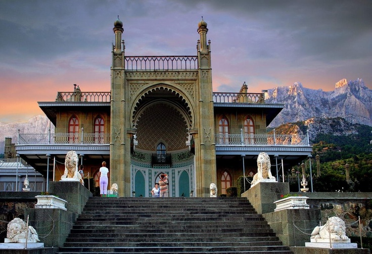 Alupka Palace (1830-1844), the Prince of Vorontsov's residence near Yalta, Crimea.