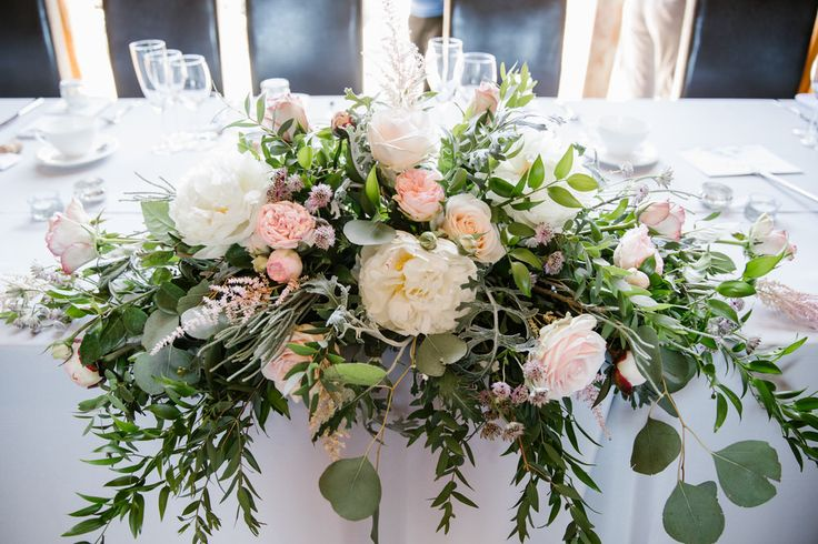 Top Table Blush Pink Wedding Flowers | Victoria Williamson Team GB Cyclist Wedding At Southwood Hall Norfolk Bride Wears Sassi Holford Images By Katherine Ashdown Photography