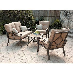 PATIO FURNITURE OUTDOOR LAWN & GARDEN KENNEDY 4 PC WITH CUSHIONS by PATIO FURNITURE At The Neighborhood Corner Store. $1045.23. Coffee Table Constructed of heavy gauge steel. Powder coated finish which is chemically cleaned prior to paint application to ensure durability. Love Seat Constructed of heavy gauge steel. Cushions are covered in polyester fabric that is resistant to fading, water and stains. Casual Chair Constructed of heavy gauge steel. This Kennedy 4-Piece Casua...
