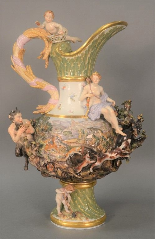 "Monumental Meissen ""Earth"" ewer from the ""Four Elements"" series, with blue crossed swords mark ~ Realized Price $ 18,750.00  #nadeausauction"