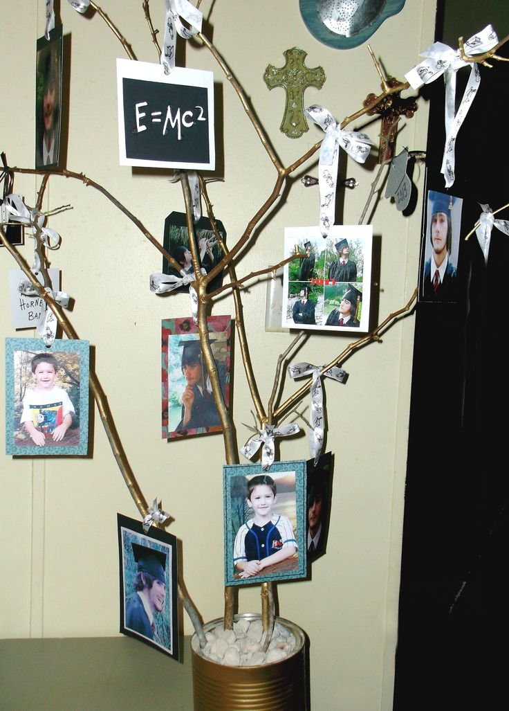 graduation photo tree spray paint a coffee can and fill it with rocks. Black Bedroom Furniture Sets. Home Design Ideas