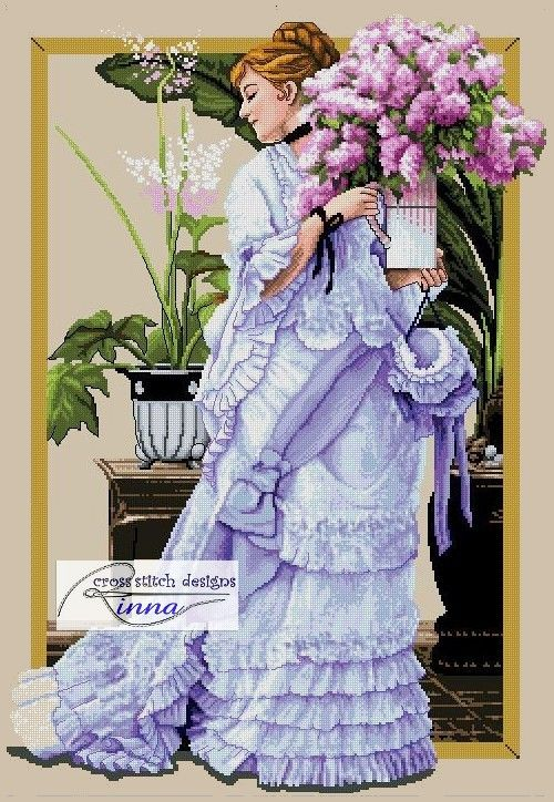 Lady and Bunch of Lilacs Cross Stitch pattern- For Sale