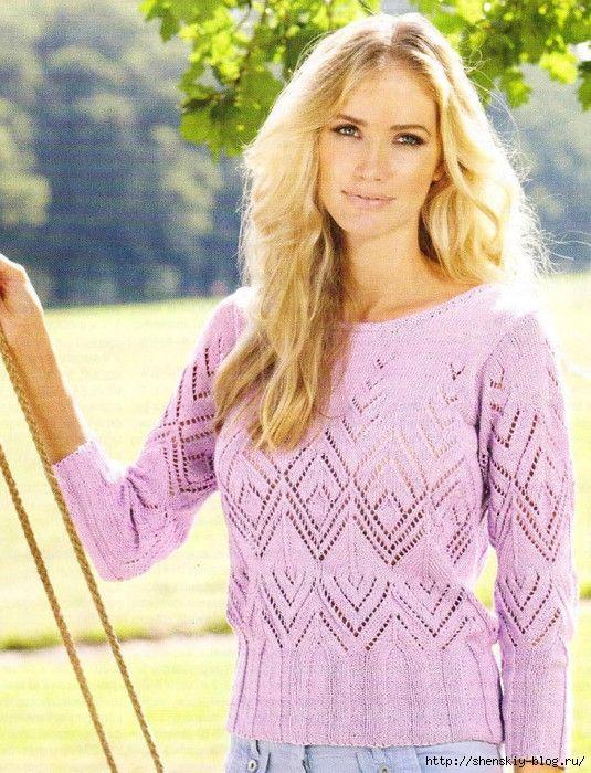 Нежный ажурный пуловер - вяжем спицами. Обсуждение на LiveInternet - Российский Сервис Онлайн-Дневников