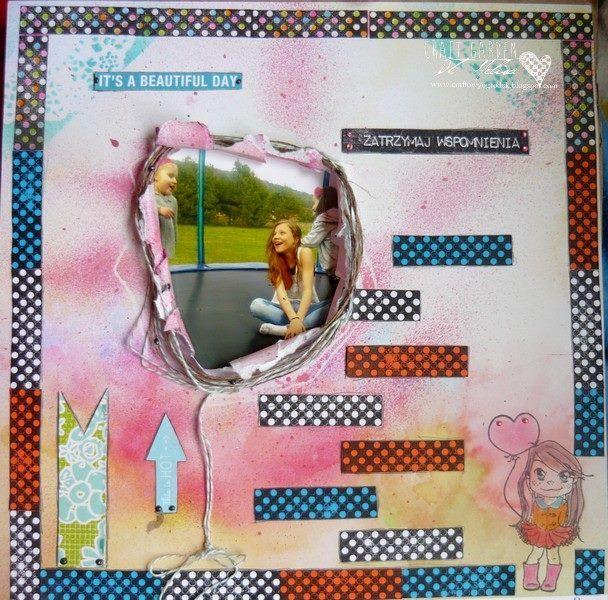 """Melisa's girlish layout for our challenge """"Layout with medias"""". Check:  https://fbcdn-sphotos-b-a.akamaihd.net/hphotos-ak-frc3/t1.0-9/10325537_620783448018570_6668315939023558464_n.jpg  -- Praca Moniki (Melisy) na blogu Craftowego Ogródka w ramach trwającego wyzwania """"Mediowy Layout"""" Zapraszamy!"""